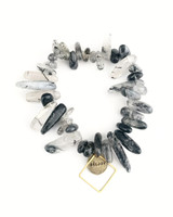 Bloomer Bracelet - Black & Clear Mix on white background