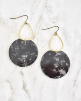 Etch Earrings - Black on marble background