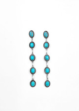 Turquoise 5 Stone Drop Post Earrings