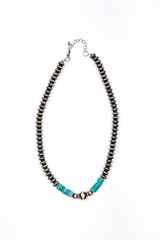 "18"" Faux Navajo Disc Pearl Necklace with Turquoise Accent"