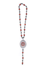Faux Navajo Pearl and Red Y Necklace with Large Concho
