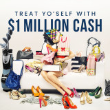 Treat Yo Self with $1 Million Cash Woman sitting on couch with shopping bags and shoes