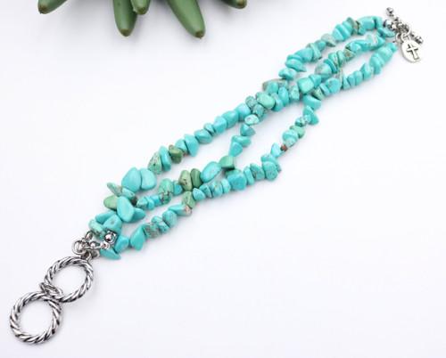 Burnished Silver Bracelet - Turquoise Stone