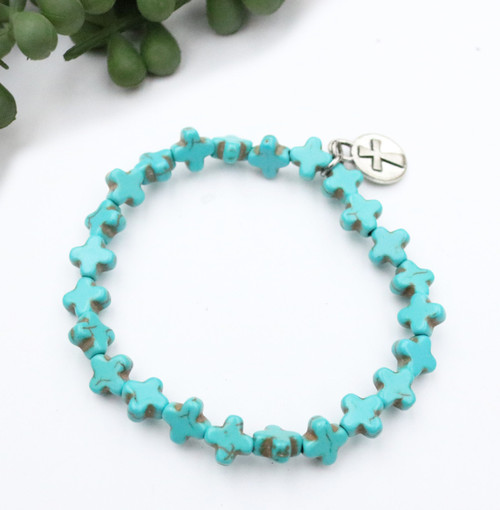 Cross Stretch Bracelet - Turquoise