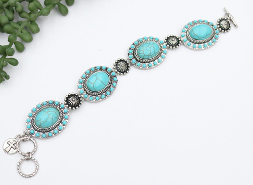 Concho Link Bracelet with Toggles - Turquoise