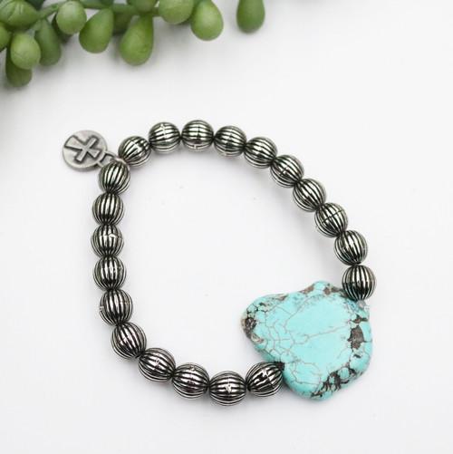 Silver Melon Bead Bracelet - Turquoise Slab