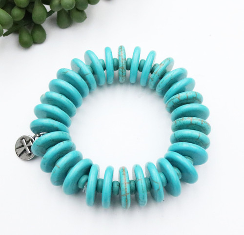 Disc Stretch Bracelet - Turquoise
