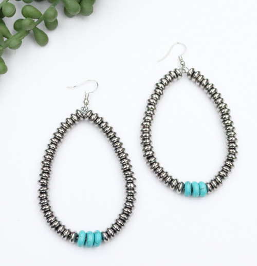Disk Teardrop Earring - Silver and Turquoise