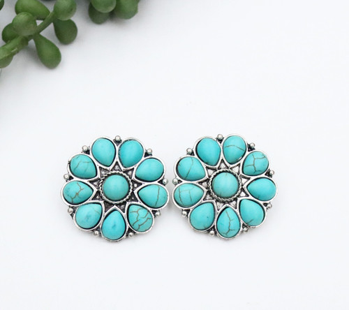 Flower Stud Earring - Silver and Turquoise