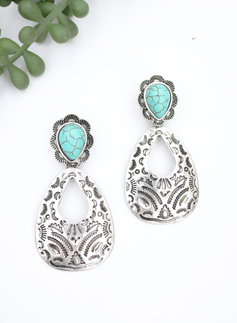 Aztec Dangle Earring - Silver and Turquoise
