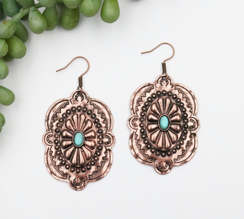 Copper Concho Earring - Turquoise Stone