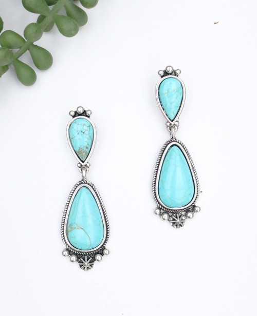 Tear Drop Earring - Turquoise and Silver