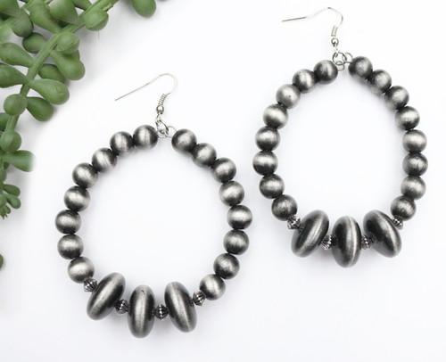 Faux Navajo Pearl Hoop Earring - Silver