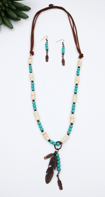 Beaded Leather Necklace and Earring Set with Feather Accents