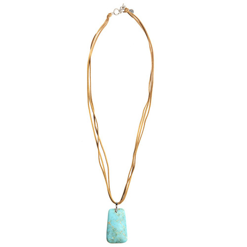 Tan Leather Necklace - Turquoise Stone