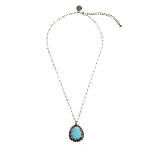 Silver Chain Necklace - Turquoise Navajo Pendent