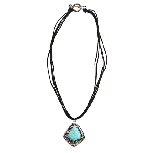 Black Leather Necklace - Turquoise Navajo Pendant