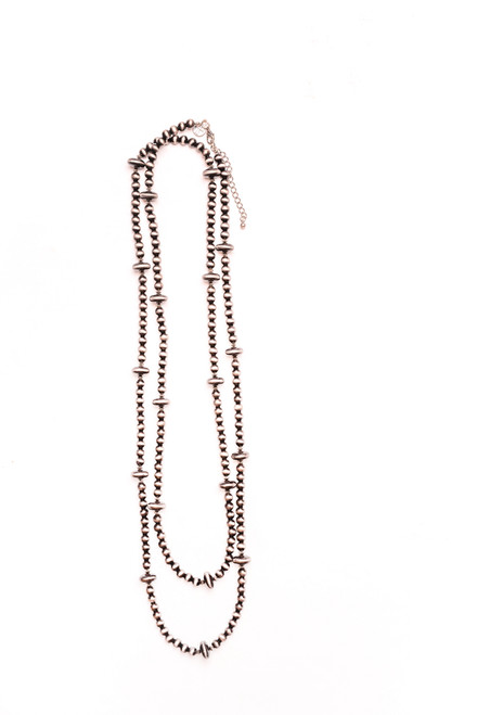 Faux Navajo Pear Beaded Necklace - Silver