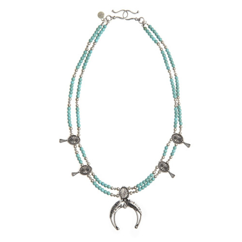Squash Necklace - Turquoise & Silver