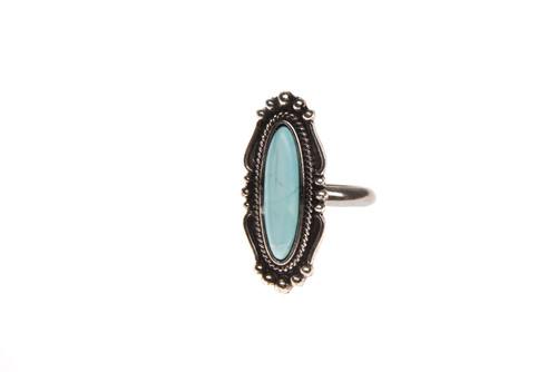 Adjustable Silver Navajo Inspired Ring - Turquoise Stone