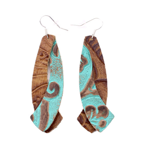 Double Wing Leather Earrings - Tooled Turquoise With Tooled Brown