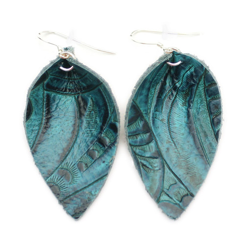 Blossom Leather Earrings - Tooled Blue