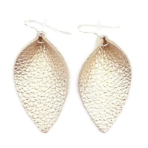 Blossom Leather Earrings - Gold Foil