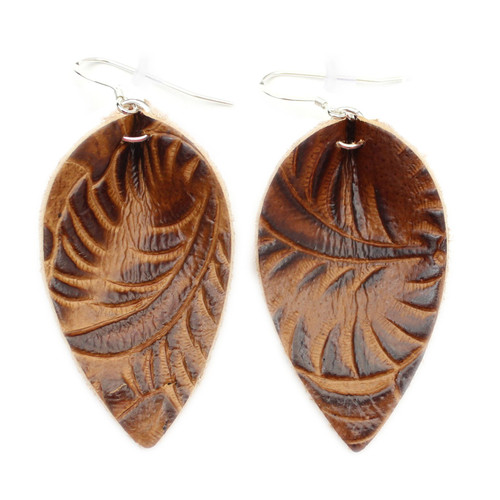 Blossom Leather Earrings - Tooled Brown