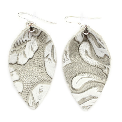 Blossom Leather Earrings - Tooled Grey