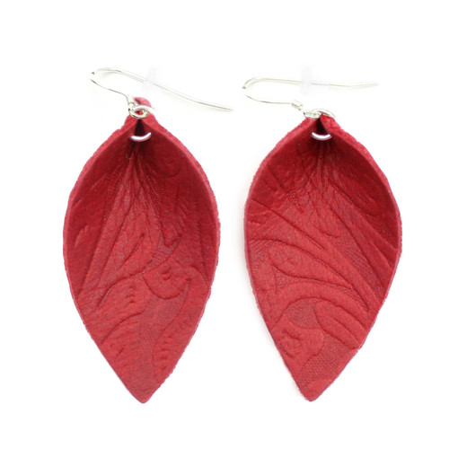 Blossom Leather Earrings - Tooled Red