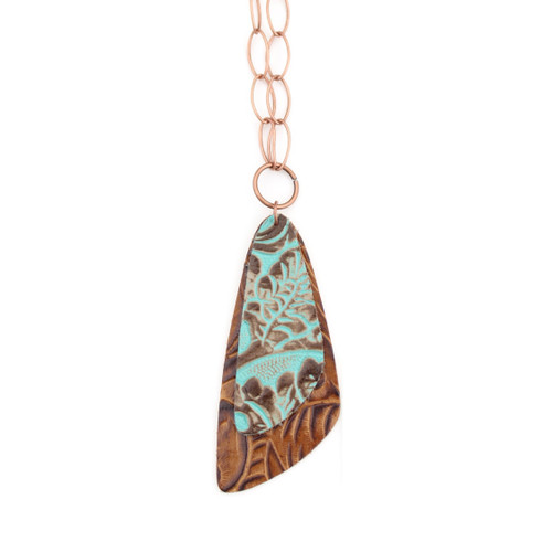 Double Descent Necklace - Tooled Turquoise Over Tooled Brown