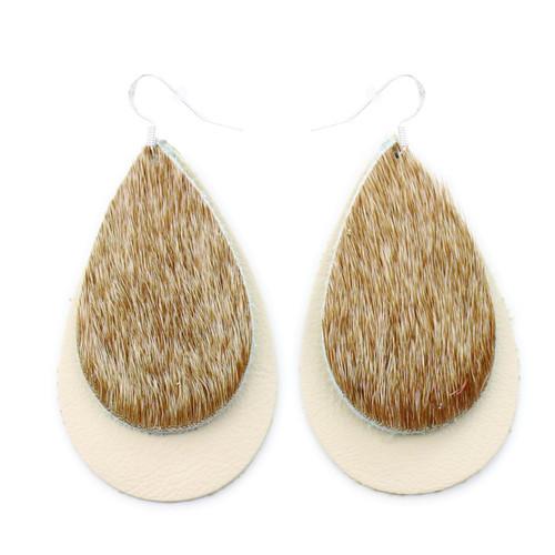 Double Drop Leather Earrings - Tan Hide Over Beige