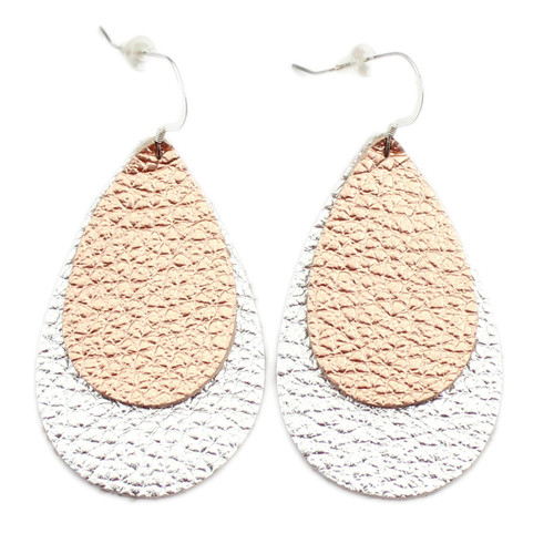 Double Drop Leather Earrings - Copper Rose Gold Over Shiny Silver
