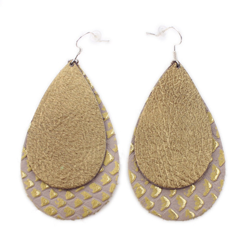 Double Drop Leather Earrings - Gold Foil Over Gold Lizard Scales