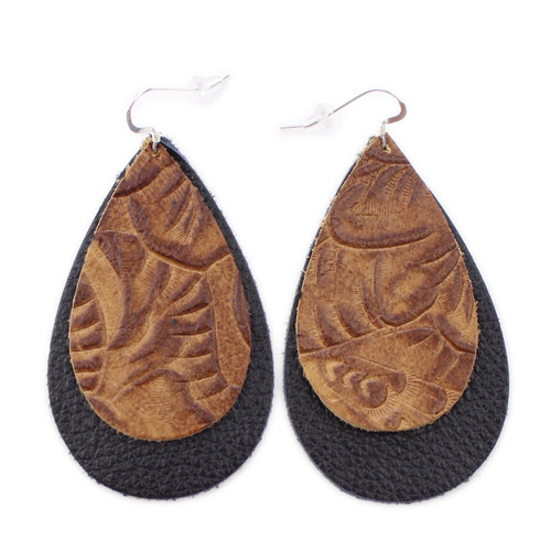 Double Drop Leather Earrings- Tooled Brown over Black