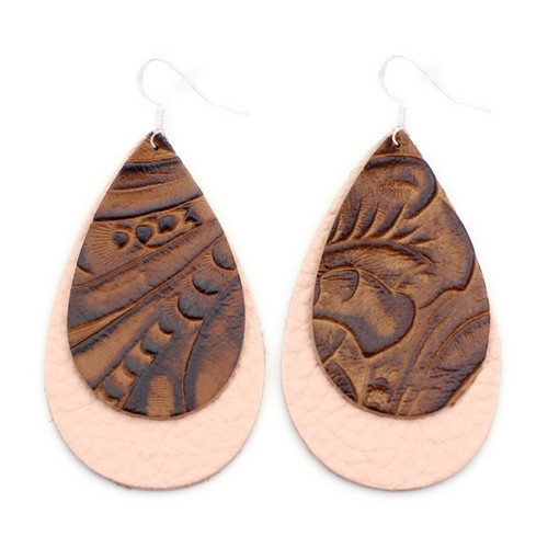 Double Drop Leather Earrings - Tooled Brown Over Millennial Pink