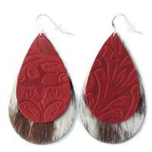 Double Drop Leather Earrings - Tooled Red Over Cow Hide