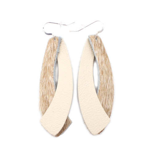 Double Wing Leather Earrings - Tan Hide with Beige