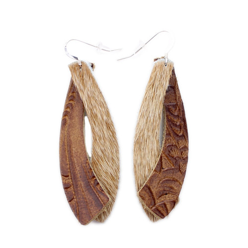 Double Wing Leather Earrings - Tooled Brown With Tan Hide