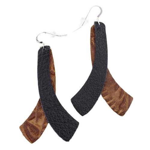 Double Wing Leather Earrings - Tooled Brown With Black