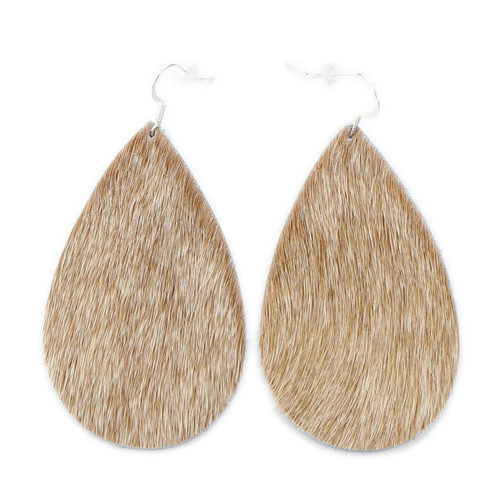 Drop Leather Earrings - Tan Hide
