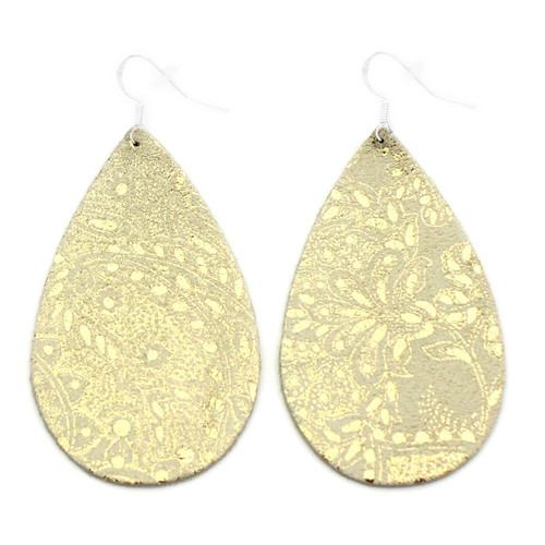 Drop Leather Earrings - Gold Lace