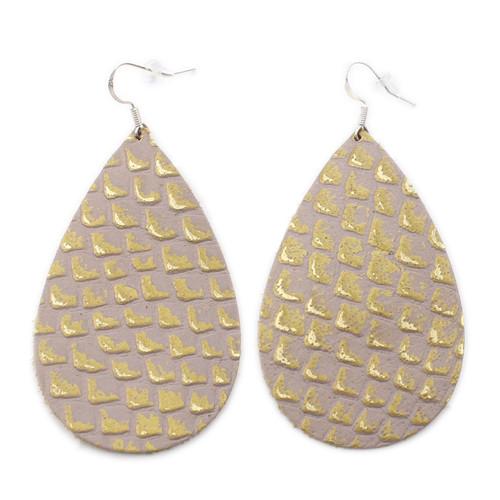 Drop Leather Earrings - Gold Lizard Scales