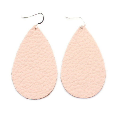 Drop Leather Earrings - Millennial Pink