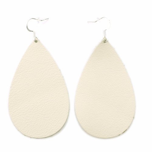 Drop Leather Earrings - Beige