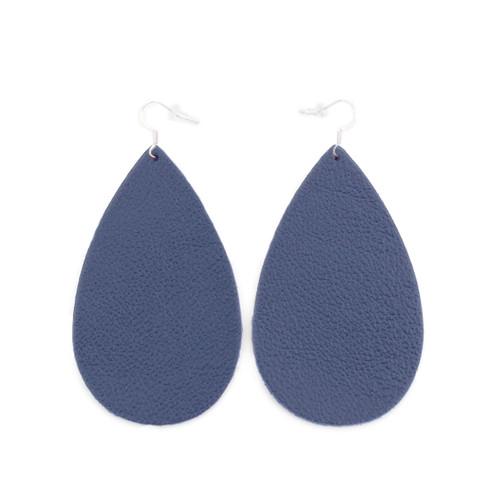 Drop Leather Earrings - Navy