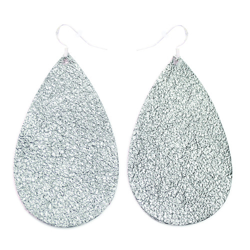 Drop Leather Earrings - Shiny Silver
