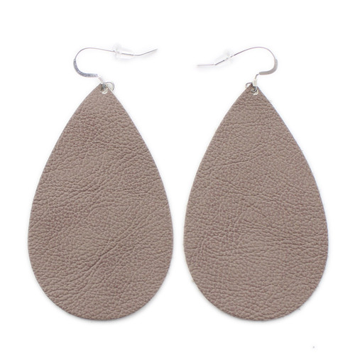 Taupe Drop Leather Earrings