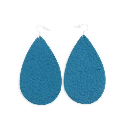 Teal Drop Leather Earrings