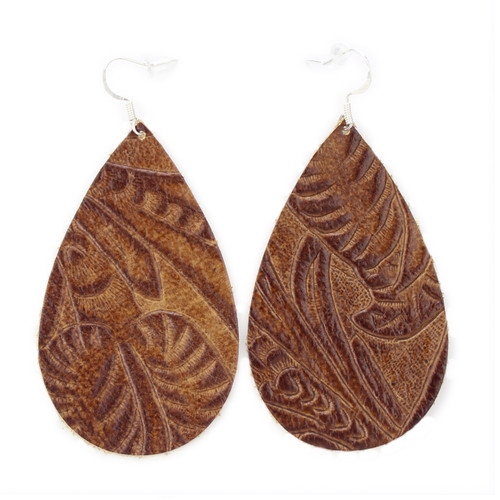 Drop Leather Earrings - Tooled Brown